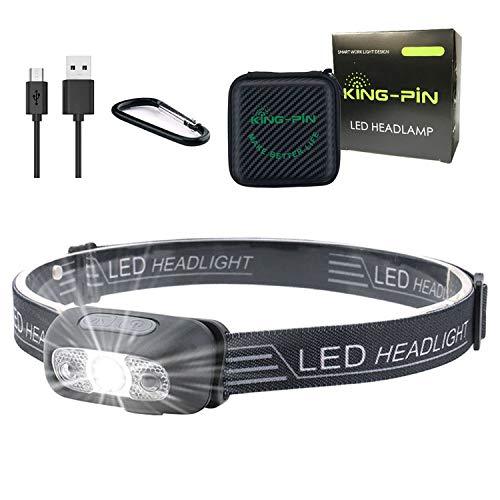 LED Stirnlampe Kopflampe USB Wiederaufladbare Wasserdicht Leichtgewichts Mini Stirnlampe 7 Leuchtmodi Perfekt fürs Laufen Joggen Campen Angeln (Sensor LED Stirnlampe Schwarz)