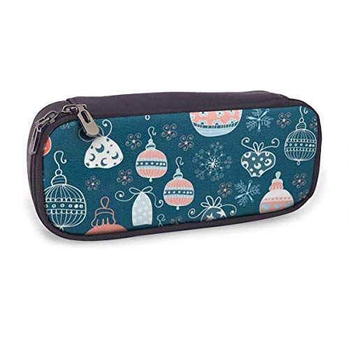 Pencil Case Pen Bag,Chalkboard Background Pattern On with Christmas Balls,Large Capacity Pen Case Pencil Bag Stationery Pouch Pencil Holder Pouch with Big Compartments