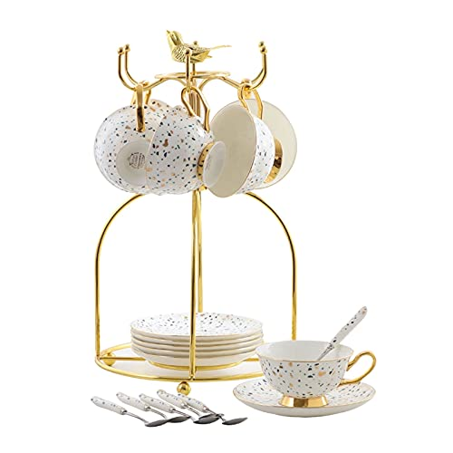 liushop Coffee Mug Espresso Cups and Saucer Set Colored Spots Ceramic Coffee Cups with Metal Organizer Rack,Saucers and Coffee Spoon,7.8 Oz,Set of 6 Exquisite coffee cup