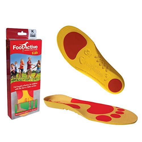 FOOTACTIVE Kids Full (32/34) - Plantilla Ortopédica de Soporte para Arco para Niños de Grado Médico para la Enfermedad de Sever, Fascitis Plantar y Restauración del Patrón Natural de Caminar