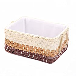 rectangular woven storage basket with brown bottom, tan middle, and white upper