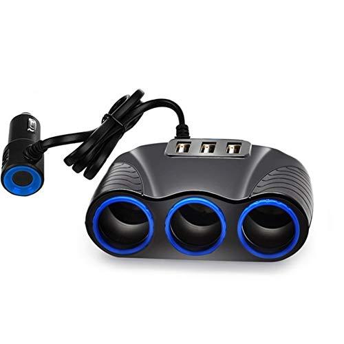N\A Auto Leichter Auto-Sockel-Adapter Feuerzeug-Teiler 5V 3.1A Auto T in Zigarettenanzünder Lade Autos Ausgangsleistung 3 USB-Auto-Ladegerät 12V / 24V qualitätssicherung (Color Name : Black)