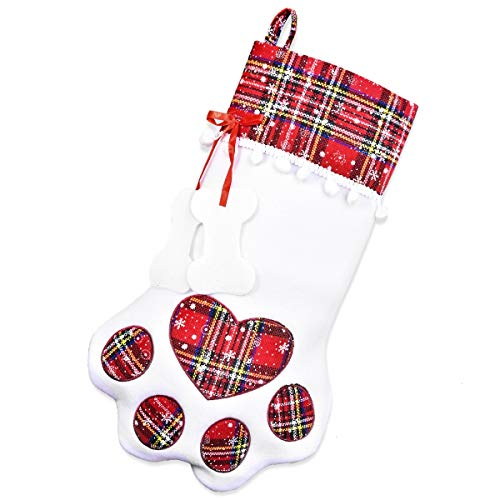 Feeko Dog Christmas Stockings - Dog's Gift - Pet Stocking with Large Paw for Christmas Decorations, 18 x 11 Inches