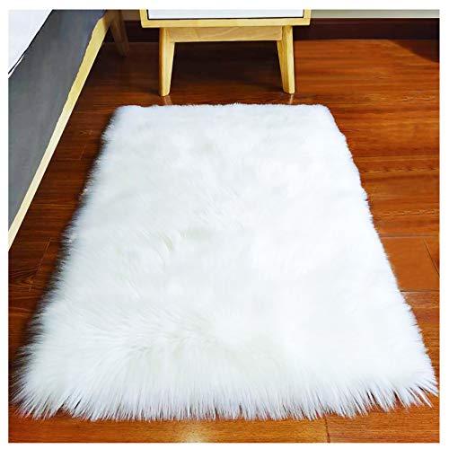 DoubleSH Alfombra de piel sintética con pinzas para alfombras, alfombra rectangular de 2 x 3 pies, alfombras para habitacion, suave alfombra para suelo y decoración de interiores