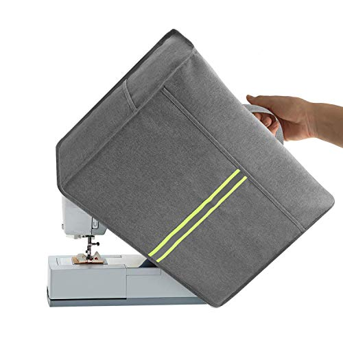 Sewing Machine Dust Cover with Storage Pockets Universal for Most Standard Singer & Brother Machines (Grey)