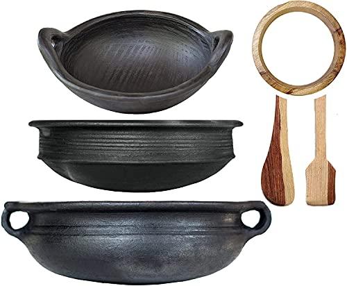 Pan Set India Black Pottery Earthen Kadai/Clay Pots Combo for Healthy Cooking Pre-Seasoned (3.5,2 & 1Ltr_Deep Burned_Gas Stove & Microwave_Unglazed)
