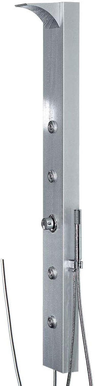 Sanlingo LED Duschpaneel Duschsule Aluminium Regenschauer Wasserfall Massagedüsen Brauseanschluss Silber