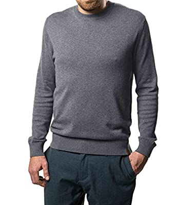 Marino Cotton Sweaters for Men - Lightweight Crewneck Men's Pullover (Charcoal Grey, Large) from Mio Marino