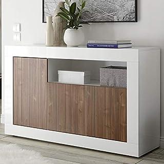 SofaMobili Bahut 140 cm Blanc et Couleur Noyer Moderne Serena 4