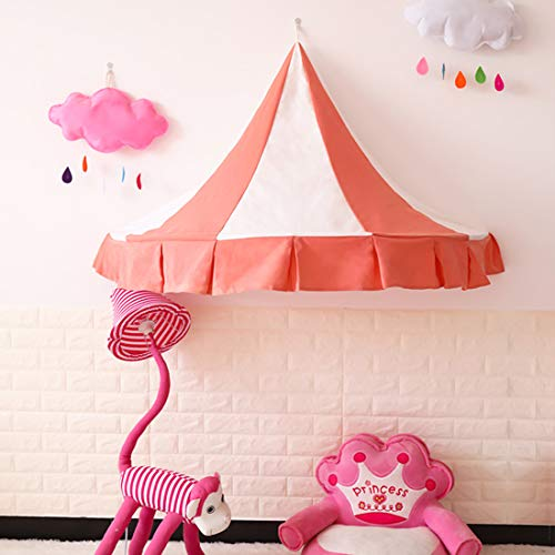 LWKBE Tente pour Enfants Literie Salle de Jeux Chambre de Jouets Art de Chiffon Demi-Lune Tente de lit à baldaquin Tentes avec Rideau de Gaze (Seulement Une Tente),Pink