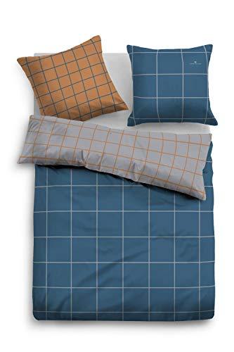 TOM TAILOR 0069922 Satin Bettwäsche Garnitur mit Kopfkissenbezug (Baumwolle) 1x 155x220 cm + 1x 80x80 cm, strahlendblau