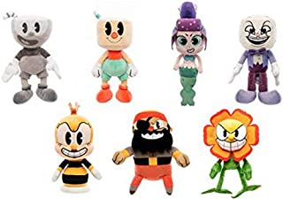 Funko Plush: Cuphead Wave 2: Set of 7: Black and White Cuphead, King Dice, Captain Brineybeard, Puphead, Cala Maria, Cagney Carnation and Honeybottoms