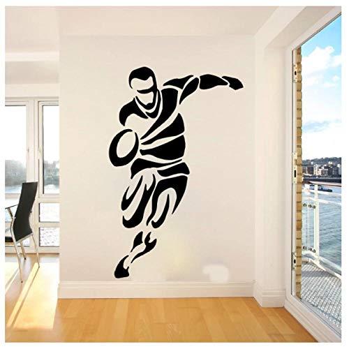 WANGHH Große Rugby-Spieler Sport Wandaufkleber Schlafzimmer Spielzimmer Wandtattoo Kinderzimmer Vinyl Dekor 85x54cm