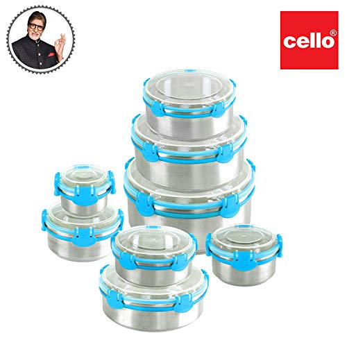 Cello Estella Stainless Steel Container, 3000 ml, 1pc, Blue, Large