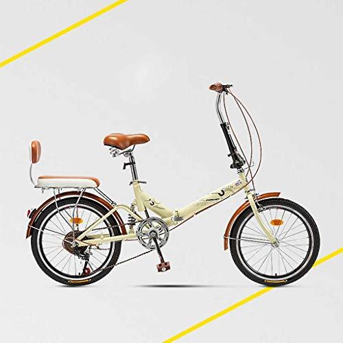 Affordable GUOE-YKGM 20 Women's Cruiser Bike, Beige Folding Bike, Wire Basket, Brown Seat and Grips...
