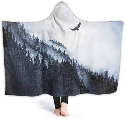 BONRI Manta con capucha para adultos con capucha para montañas, pino niebla y águila, suave y cálido, forro polar, 130 x 150 cm