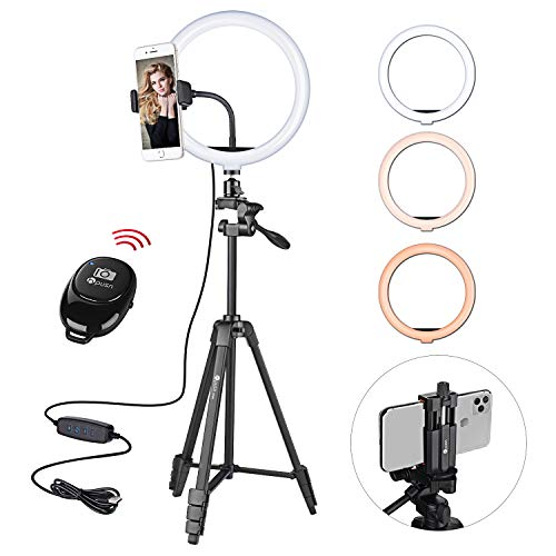 """HPUSN 10.3"""" Selfie Ring Light with Tripod Stand & Flexible Phone Holder for Live Stream, Makeup, Dimmable Led Camera Beauty Ringlight for YouTube/TikTok/Photography Compatible with Phone and Camera"""