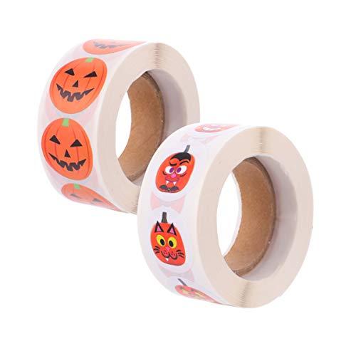 Hemobllo 1000 unidades Halloween Roll pegatinas de dibujos animados calabaza etiquetas autoadhesivas redondas círculo sellado pegatinas para Halloween Party Tratamientos salón bolsas Goody Bags