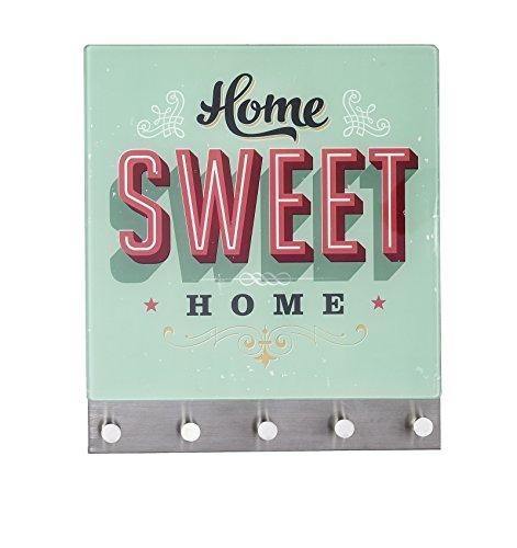 Wenko 50401100 Hakenleiste Home Sweet Home - 5 Haken, magnetisch, Gehärtetes Glas, 34 x 30 cm, mehrfarbig