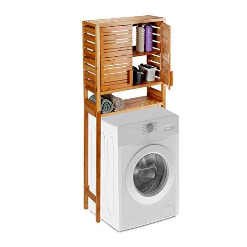 Relaxdays Mobile per Lavatrice, Autoportante, Ante in Lamelle, 3 Ripiani, Mobiletto sopra WC, bambù, Marrone Chiaro, 164.5 x 66 x 26 cm