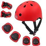 LBLA Casco Bici Niño, 7 In 1 Set de Protecciones Patines para Niños, Casco Coderas Rodilleras, Patinaje Ciclismo Monopatín y Deportes Extremos