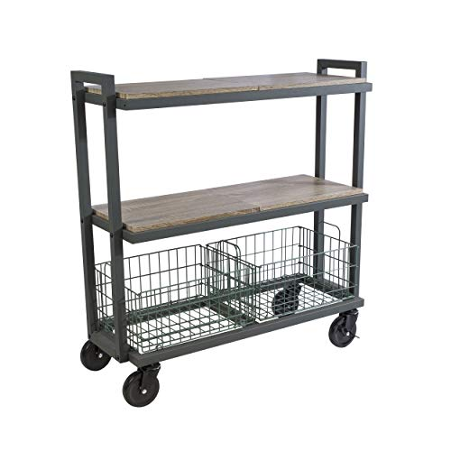 Atlantic System 3 Tier Cart-Wide Mobile Storage Interchange Shelves and Baskets, Powder-Coated Steel Frame PN23350330 in Kale Green