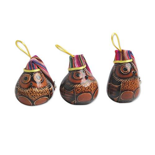 NOVICA Mate Flaschenkürbis und Baumwolle Mischung Ornaments, Bell Garland-Parent (229770-p) Feiertag, Eulen Holiday Owls