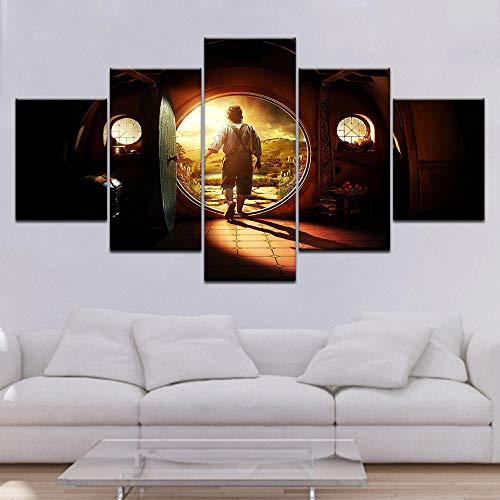 MXmama El Hobbit: Un Viaje Inesperado, 5 Piezas, Lienzo, Fondos de Pantalla, póster Moderno, Arte de Pared, Pintura para Sala de Estar, decoración del hogar, 30x40 30x60 30x80cm