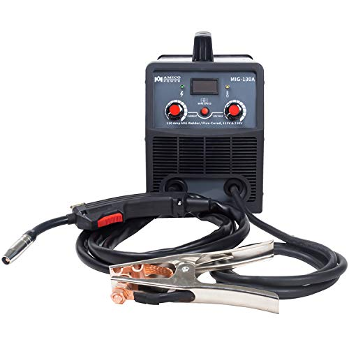 Amico MIG-130A, 130 Amp Flux Cored Gasless MIG Welding Machine, 115/230V Dual Voltage Welder New