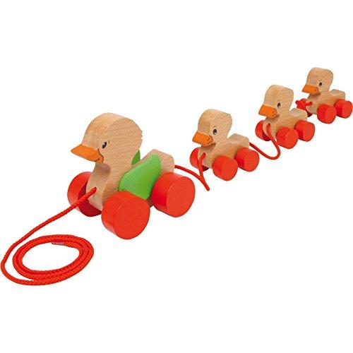 Famille de canards à roulettes - jouet à tirer en bois
