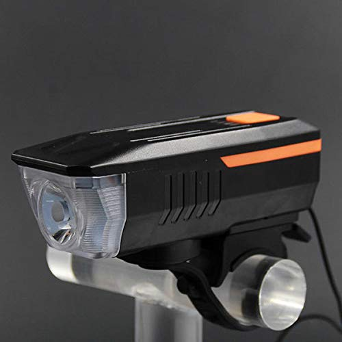 YNLRY 600LM 2 in 1 140dB Horn Bike Front Light USB Rechargeable 3 Modes Waterproof Warning Night Light (Color : ORANGE)