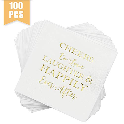 Haodou 100 Pcs Wedding Napkins Gold Love Laughter and Happily Ever After Bridal Shower Napkins 4.5 sq.in.