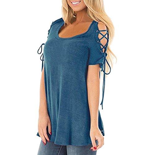 Toamen T-shirt à manches courtes Femmes Chemises décontractés Tunique habillée Conception Cordon (S, Bleu)