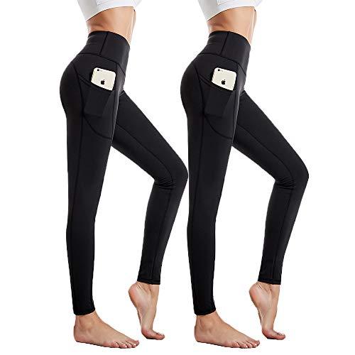 GymCope 2 Pack Leggings Damen, Yogahose lang, Sportleggins, Sporthose Tights, Leggins mit Handytasche, High Waist, Blickdicht für Sport, Fitness, Yoga (Schwarz, XS)