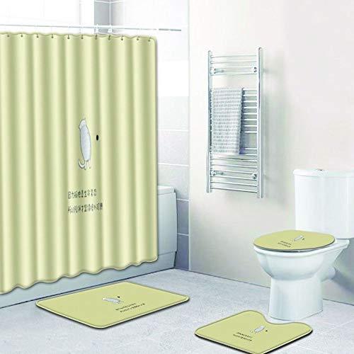 AUXING Modernes Kreatives Kleines Frisches Einfach Teppichwohnzimmerschlafzimmer Zusammenzubringen180 * 180 Duschvorhang + 50 * 80 Set
