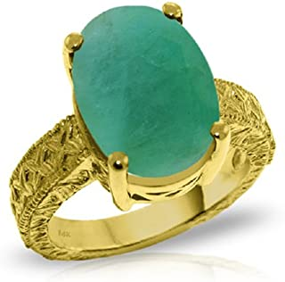 14k Solid Gold Ring with Natural Oval Emerald