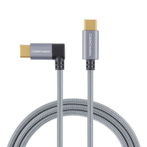 Right Angle USB C to USB C Cable 60W 3A Fast Charge, CableCreation 4ft 90 Degree USB-C to USB-C Braided Cable, Compatible with New MacBook(Pro), Galaxy S10/S9/S8, Space Gray with Aluminum Case