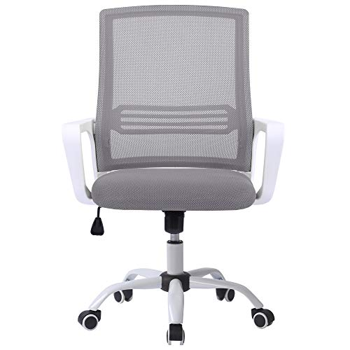 Belissy Silla de oficina, oficina, ergonómica, silla de escritorio ergonómica, silla de escritorio giratoria, altura regulable,silla de escritura para oficina y oficina en casa, en color gris