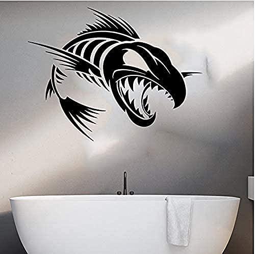 Etiqueta engomada de la pared de pescado Cocina de dibujos animados de dibujos animados bajo el océano Peces Animal de la pared Decoración de coche Dormitorio de vinilo decoración 56x43cm