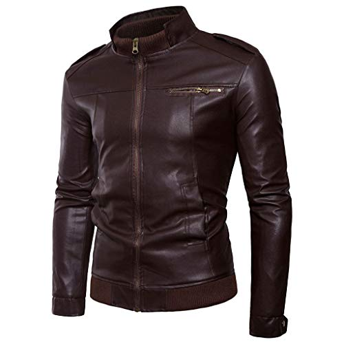 Heren motorfiets lederen jas heren motorsport biker jas mantel kant blouse waterdicht maat Large Cafe Black Brown