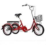 Dreirad Erwachsener mit 3 Rädern Fahrräder Ältere 16 Zoll mit Gemüsekorb mit Rückenlehne männliche Damen Fahrräder mit 3 Rädern Laden 150 kg Menschliches Dreirad Alter Roller