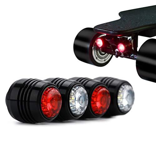 Qiekenao 4 elektrische Skateboard-Lichter, 4 Räder, Longboard-Lichter, LED-Sicherheitswarnlicht, Skateboard-Zubehör