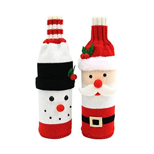 DierCosy Tools Suéter Vino de Navidad Cubiertas de Botellas de Vino suéter Cubierta de Santa muñeco de Nieve y el Vino Tinto Botella del Bolso de la Fiesta del suéter de Navidad Decoración de Navidad