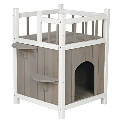 Trixie 44093 natura Cat\'s Home mit Balkon, 45 × 65 × 45 cm, grau/weiß