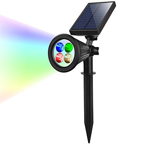 DAYBETTER Lámparas Solares, Foco Solar Exterior de 4 LED 7 Colores Aplicable para Calzada, Patio, Cesped, Pathway, Jardín. (2Packs) [Clase de eficiencia energética A+++]