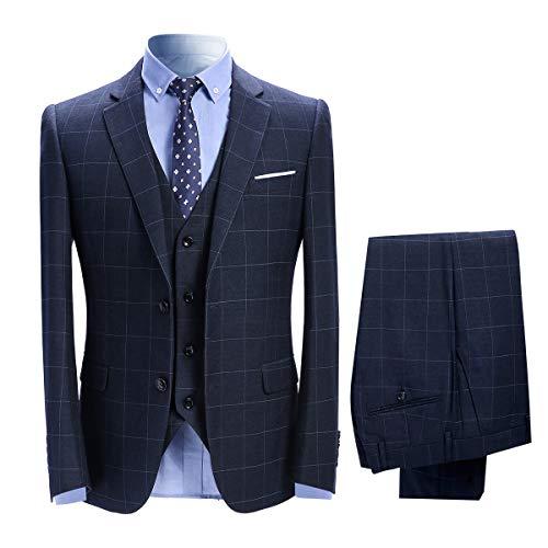 Herenpakken 3-delig Slim Fit Geruit Pak Blauw/Zwart Single Breasted Herringbone Vintage Pak Tuxedo Formele Zakelijke Jas Waistcoat Broek