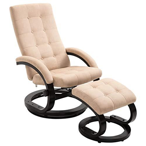 vidaXL Liegesessel mit Fußhocker Hocker Relaxsessel Fernsehsessel TV Sessel Polstersessel Ruhesessel Liegestuhl Creme Stoff in Veloursleder-Optik