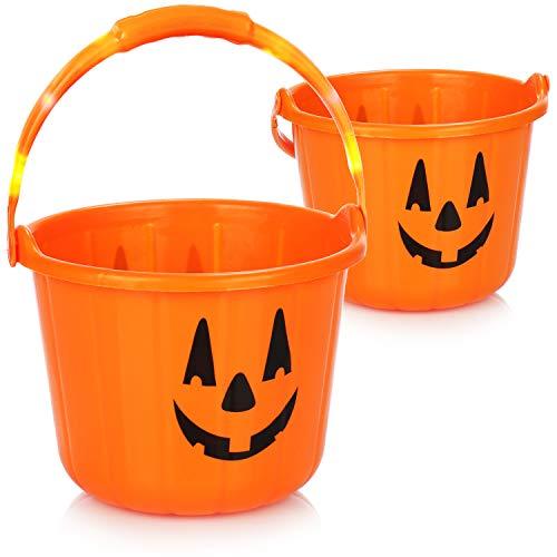 com-four 2X Cubo de Calabaza de Halloween - Cubo de plstico con diseo de Calabaza con LED - Cubo de Calabaza para Caramelos de Halloween (02 Piezas - 22x17 cm)