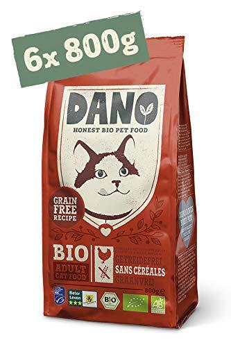 DANO Biologisch Kattenvoer Droog 6 x 800g - Graanvrije Brokjes met Kip en MSC-Haring - Voor alle Katten vanaf 12 Weken en Ouder