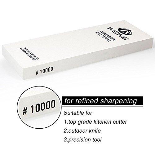 Aiguiseur de couteau au grain super fin 10000, pierre à aiguiser en corindon pour un affûtage équivalent à une lame de rasoir, avec support de pierre en caoutchouc